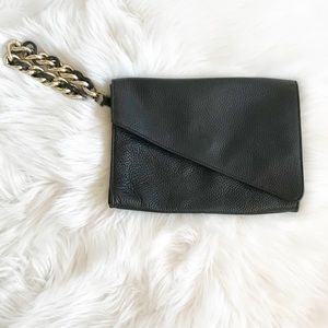 Saks 5th Avenue Pebbled Leather Wristlet